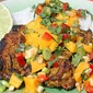 Indonesian Grilled Chicken Thighs with Mango-Peanut Salsa