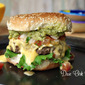 Mango Salsa Burger with Habanero Cheese Sauce and Guacamole