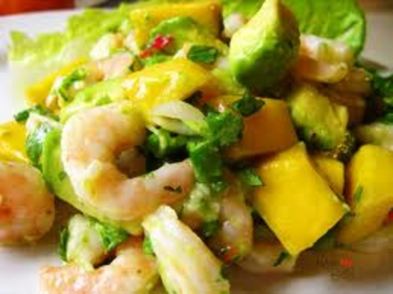 Cuban Shrimp and Avocado Salad with tamarind sauce.