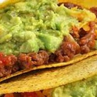 Cuban Picadillo Taco with Refried Black Beans and Avocado Mash
