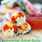 Vietnamese Chicken Salad Rolls with Peanut Sauce