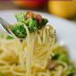 Spaghetti with Bacon, Broccoli and Brown Butter Mango Sauce