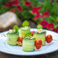 Cucumber Rolls with Pesto Shrimp Salad