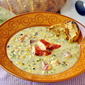 Lobster and Grilled Corn Chowder with Grilled Lemon