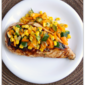 Apricot Glazed Grilled Chicken with Charred Vegetables