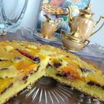 Peach Chocolate Amaretto torte upside down cake
