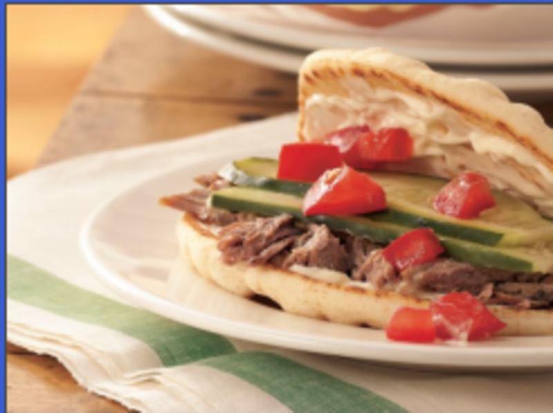 Slow Cooker Greek Pork Sandwiches