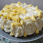 Simple chocolate cake with white roses frosting -- Simple Birthday or anniversary cake recipes - Simple frosting ideas