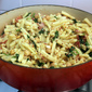 Pasta with Chickpeas, Bacon and Spinach