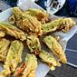 Roman fried, stuffed zucchini blossoms