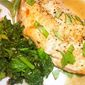 Chicken in White Wine Broth with Pan-Seared Rapini