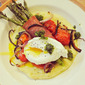 Polenta with Prosciutto-Wrapped Roasted Asparagus & Cherry Tomatoes & Poached Egg