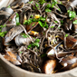 Through a Bowl, Darkly: Garlicky Mussels with Squid Ink Linguine