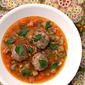 Barley, Mushroom Chicken Meatballs in a Spicy Tomato Broth
