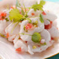 Shrimp ceviche with taramosalata