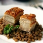 Crispy Pork Belly Served with Lentils
