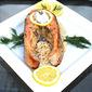 Baked Lemon Dill Salmon Steaks over Israeli Couscous
