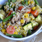 Summer Vegetable Saute with Sausage and Brown Rice