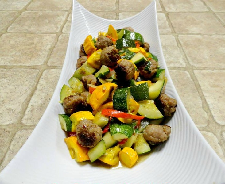 Locavore Squash & Italian Meatball Stir-Fry