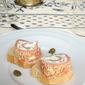 Smoked salmon and scallion cream cheese pinwheels
