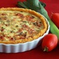 Bacon, Leek and Roasted Tomato Quiche with Polenta Crust