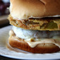 Fried Green Tomato Mozzarella Burger with Remoulade Sauce