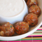 Bacon, Beef and Pork Meatball Recipe with Buttermilk Blue Cheese Dressing