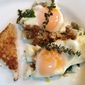Baked Eggs with Swiss Chard, Sausage and Gruyere Cheese
