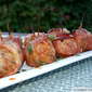 Spicy-Sweet Bacon-Wrapped Brat Bites