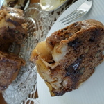 caramelized APPLE chocolate nuts coffee cake