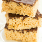 Salted Caramel Rice Krispies Treats with Dark Chocolate