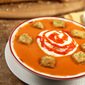 Carrot and Red Pepper Soup with Sour Cream and Red Pepper Coulis plus More Fall Soups