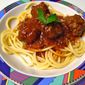 Spaghetti Western: Bison Meatballs in a Spicy Tomato Sauce