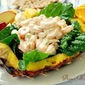 Shrimp Salad in a Fresh Pineapple with Fall Fruit