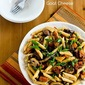 Recipe for Vegetarian Penne Pasta with Butternut Squash, Mushrooms, Scallions, and Goat Cheese