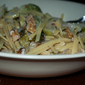 Quinoa Pasta and Brussels Sprouts in Walnut Sauce