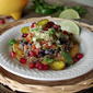 Shredded Beef Tostadas with Pomegranate Guacamole