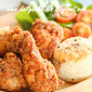 Parmesan Fried chicken drumettes with salt and pepper biscuits