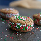 Peanut Butter and Chocolate Stuffed Christmas Cookie Sandwiches