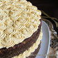 Dark Mocha-Chocolate Cake with Pumpkin Buttercream Frosting