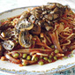 Spaghetti with Peas and Tomato Sauce and Mushrooms