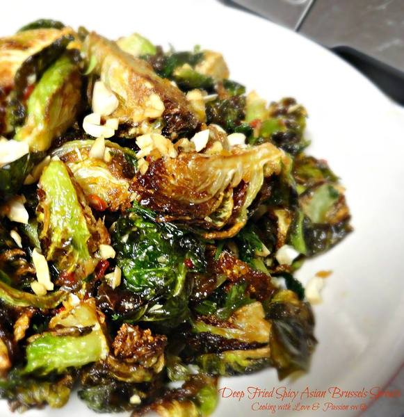 Deep Fried Spicy Asian Brussels Sprouts