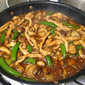 Sichuan Pork in Garlic Sauce with Mushrooms, Water Chestnuts and Snap Peas