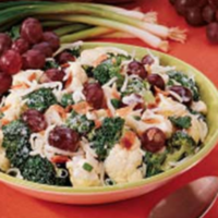 Broccoli and Cauliflower Salad with Red Grapes