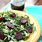 Baby Arugula,Beet and Gorgonzola Salad with Balsamic Dressing