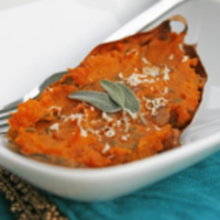Twice-Baked Sweet Potatoes with Caramelized Onion and Sage