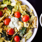 Healthy Cabbage Stir Fry with Kale, Zucchini & Grape Tomatoes