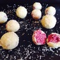 Raspberry Filled White Chocolate Coconut Truffles