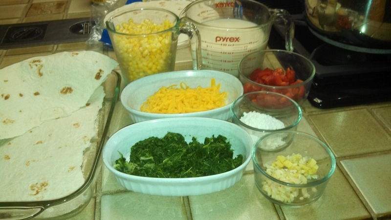 Collard Greens, corn and Tortilla Strata