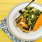 Marinated Chicken with Kale and Brussels Sprouts Saute